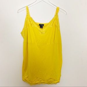 Lane Bryant Lace Trim Cami, Bright Yellow, 18/20
